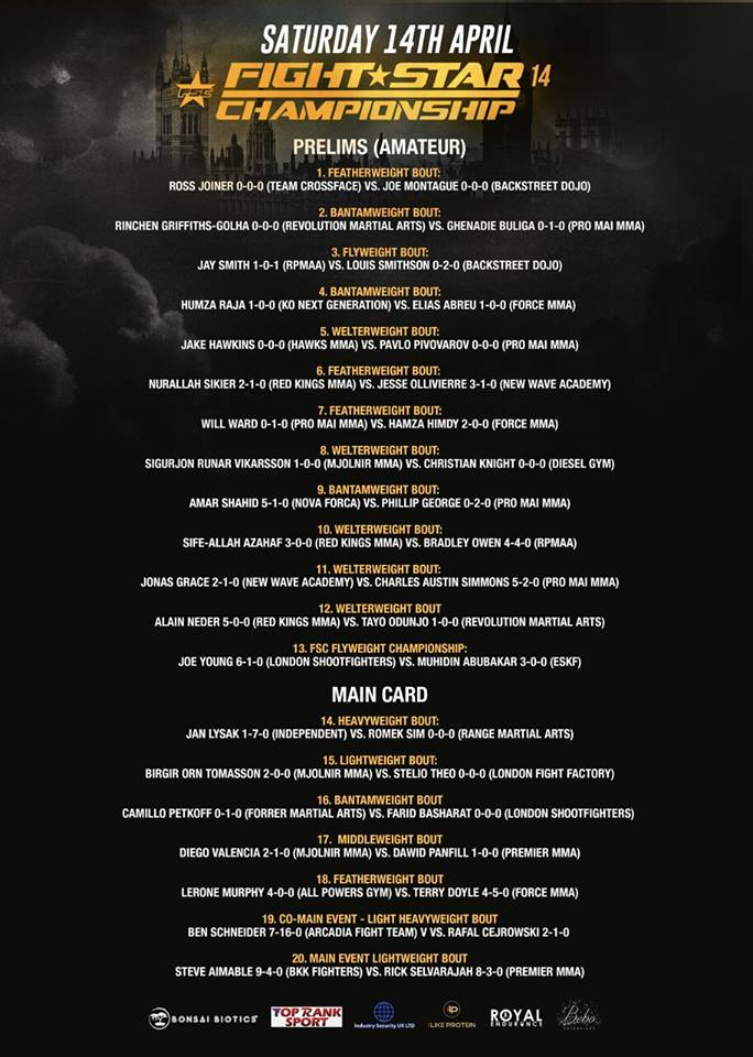 FSC 14 Fight card