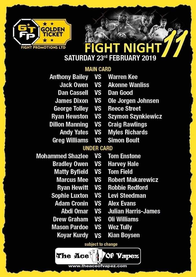 Golden ticket 11 fight card