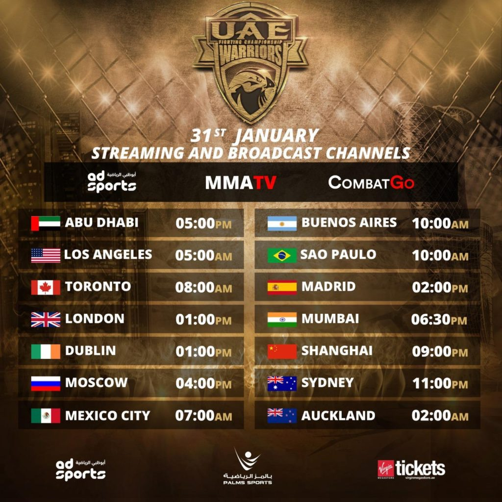 uae warriors 10 start times