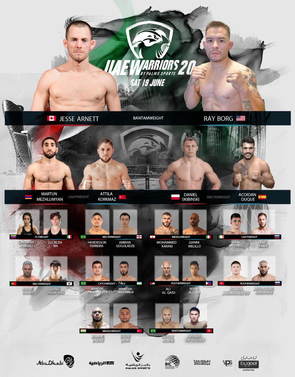 uae warriors 20 fight card