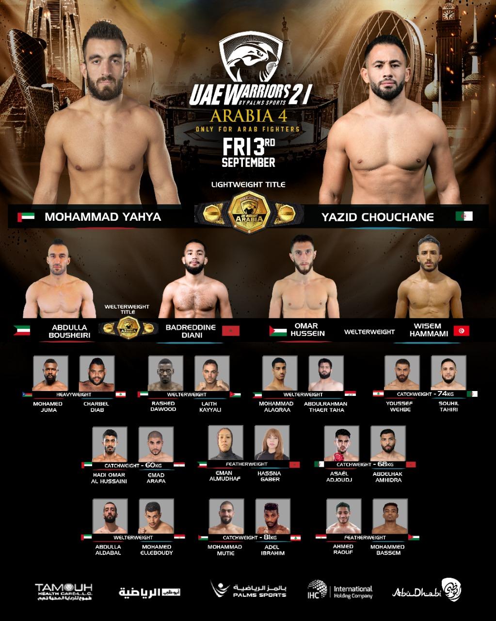 Uae warriors 21 arabia 4 fight card
